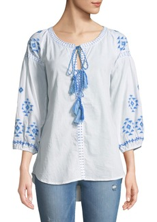RAJ Tie-Neck Embroidered Peasant Blouse