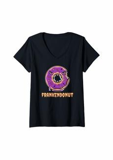 RAJ Womens Funny Doughnut or Donut Lover Halloween Gift For Women Girls V-Neck T-Shirt