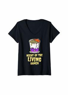 RAJ Womens Funny Ramen Lover Halloween Gift For Men Women Boys & Girls V-Neck T-Shirt