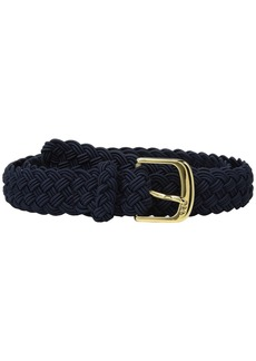 "Ralph Lauren 1 1/4"" Woven Elastic Stretch Belt with Roller Engraved Buckle"