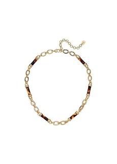 """Ralph Lauren 16"""" Tortoise Barrel Frontal Necklace"""