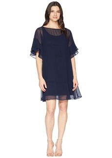 Ralph Lauren 2E Poly Georgette Kiralyn Elbow Sleeve Day Dress