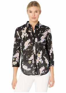 Ralph Lauren 3/4 Sleeve Floral-Print Cotton Shirt
