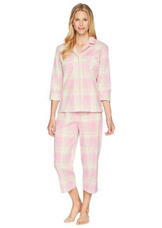 Ralph Lauren 3/4 Sleeve Notch Collar Capris Pajama Set