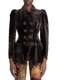 Ralph Lauren 50th Anniversary Bettie Double-Breasted Velvet Jacket w/ Puff-Sleeves