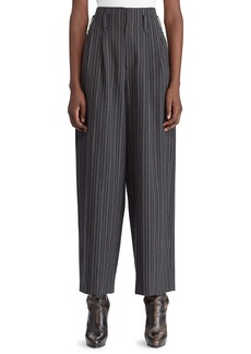 Ralph Lauren 50th Anniversary Celesse High-Waist Tapered-Leg Textured Morning Stripe Wool Pants