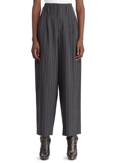 Ralph Lauren 50th Anniversary Celesse High-Waist Tapered-Leg Textured Morning Stripe Wool Pants