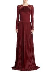 Ralph Lauren 50th Anniversary Empire-Waist Long-Sleeve Pleated Long Evening Gown