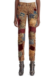 Ralph Lauren 50th Anniversary Kinsley Multi-Fabric Patchwork Cigarette-Leg Jeans
