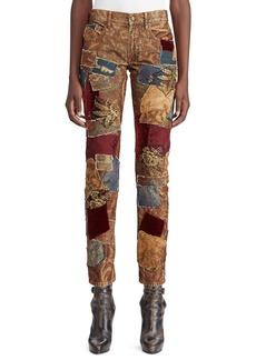 Ralph Lauren 50th Anniversary Kinsley Multi-Fabric Patchwork Cigarette-Leg Jeans