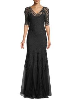 Ralph Lauren 50th Anniversary V-Neck Short-Sleeve Trumpet Embroidered Evening Gown