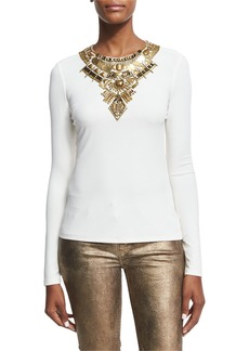 Ralph Lauren Abner Beaded Long-Sleeve Top
