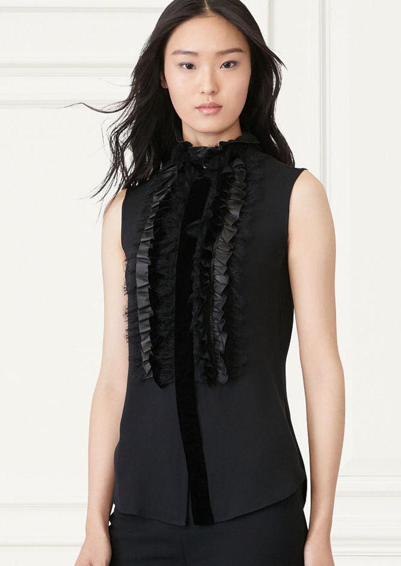 Ralph Lauren Adeena Ruffled-Bib Silk Shirt