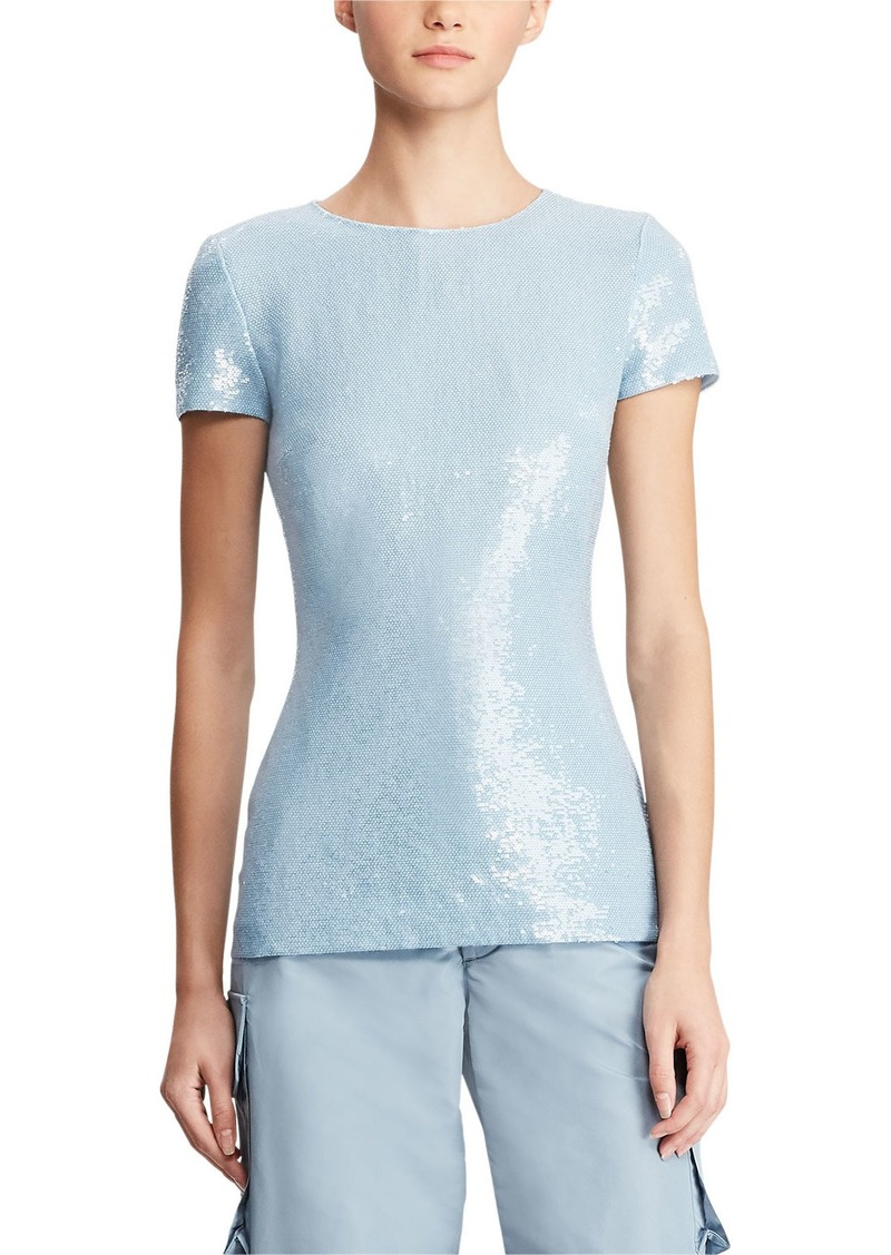 Ralph Lauren Adreanna Short-Sleeve Beaded Sequin Top