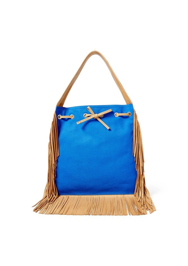 Ralph Lauren Fringed Suede-Canvas Hobo