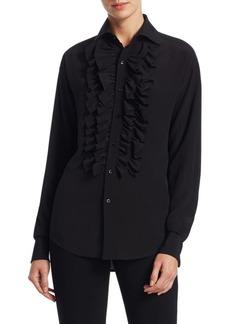 Ralph Lauren Andrei Ruffle Front Silk Blouse