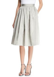 Ralph Lauren Ansley Full A-Line Taffeta Skirt w/ Pockets