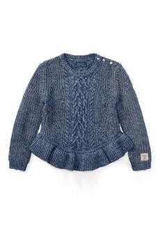 Ralph Lauren Aran Cotton Peplum Sweater
