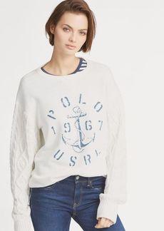 Ralph Lauren Aran-Knit Fleece Pullover