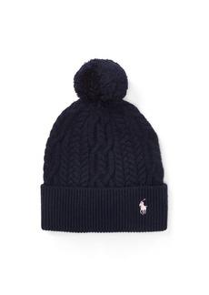 Ralph Lauren Aran-Knit Pom-Pom Hat