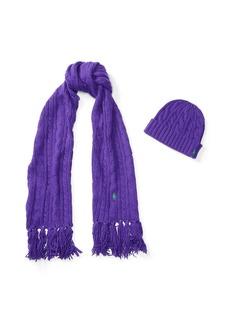 Ralph Lauren Aran-Knit Scarf & Hat Gift Set