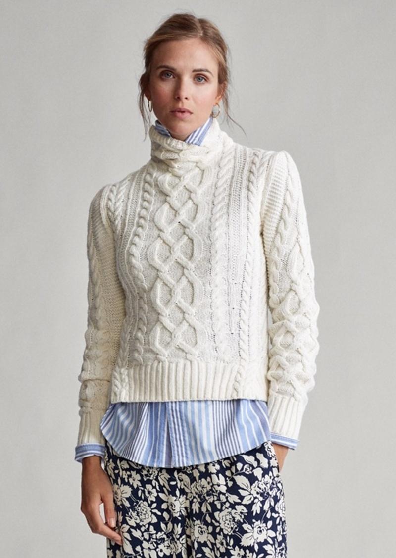 Ralph Lauren Aran-Knit Turtleneck Sweater