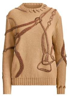 Ralph Lauren Artisanal Embroidered Equestrian Crewneck Sweater