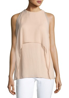 Ralph Lauren Ashley High-Neck Sleeveless Crinkle Chiffon Blouse