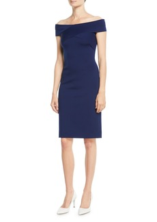 Ralph Lauren Austine Off-the-Shoulder Sheath Knee-Length Dress