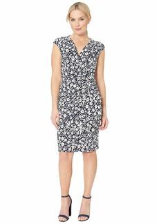 Ralph Lauren B801 Minden Floral Matte Jersey Rodya Cap Sleeve Day Dress