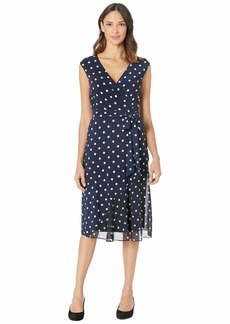 Ralph Lauren B920 Driver Dot Matte Jersey Jori Cap Sleeve Day Dress