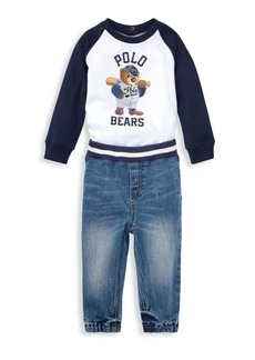 Ralph Lauren Baby Boy's Two-Piece T-Shirt & Denim Joggers Set