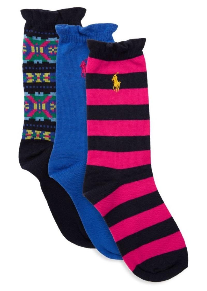 Ralph Lauren Baby's, Little Girl's & Girl's Three-Pack Graphic Fair Isle Socks