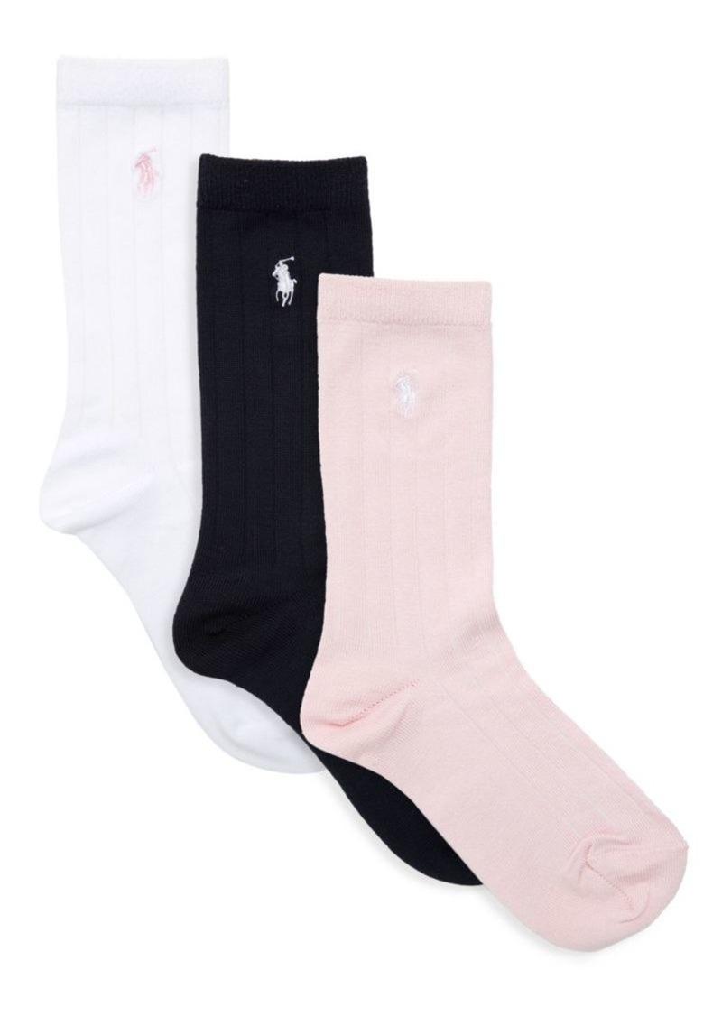 Ralph Lauren Baby's, Little Girl's & Girl's Three-Pack Supersoft Ribbed Socks