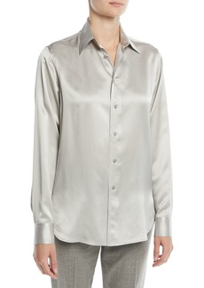 Ralph Lauren Bacall Button-Front Long-Sleeve Silk Blouse