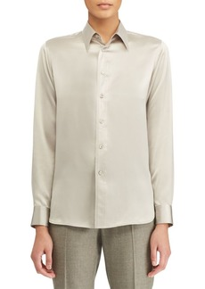Ralph Lauren Bacall Silk Long-Sleeve Shirt