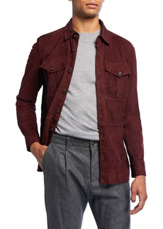 Ralph Lauren Barron Suede Shirt Jacket  Burgundy