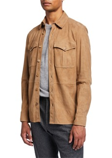 Ralph Lauren Barron Suede Shirt Jacket  Taupe