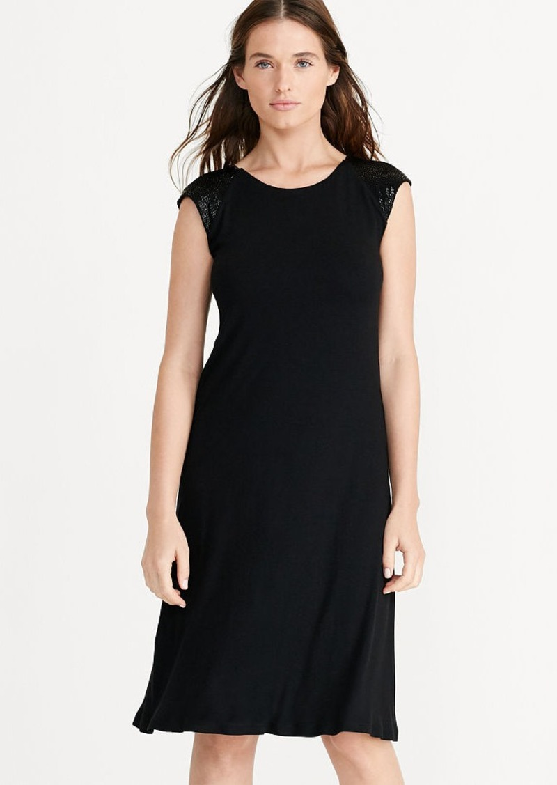 Ralph Lauren Beaded Cap-Sleeve Jersey Dress