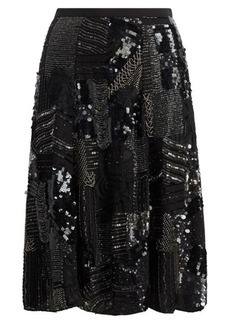 Beaded Georgette A-Line Skirt