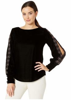 Ralph Lauren Beaded-Trim Velvet Shirt