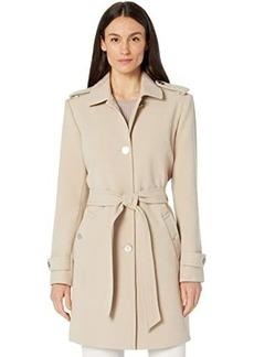 Ralph Lauren Belted Crepe Button Front Jacket
