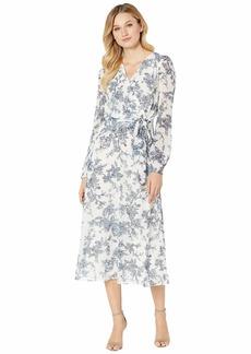 Ralph Lauren Belted Floral Georgette Dress