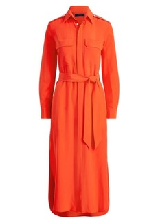 Ralph Lauren Belted Silk Shirtdress
