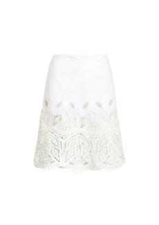 Bettina Leather-Trim Skirt