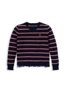 Ralph Lauren Big Girl's Stripe Lace-Trim Sweater