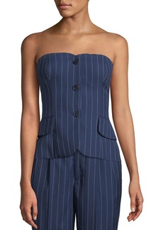 Ralph Lauren Blanche Pinstriped Bustier Top