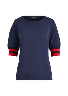 Ralph Lauren Blouson-Sleeve Cotton Top