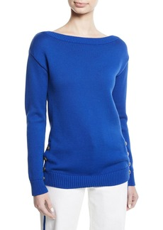 Ralph Lauren Boat-Neck Long-Sleeve Chunky Cotton Jersey Sweater w Button Detail