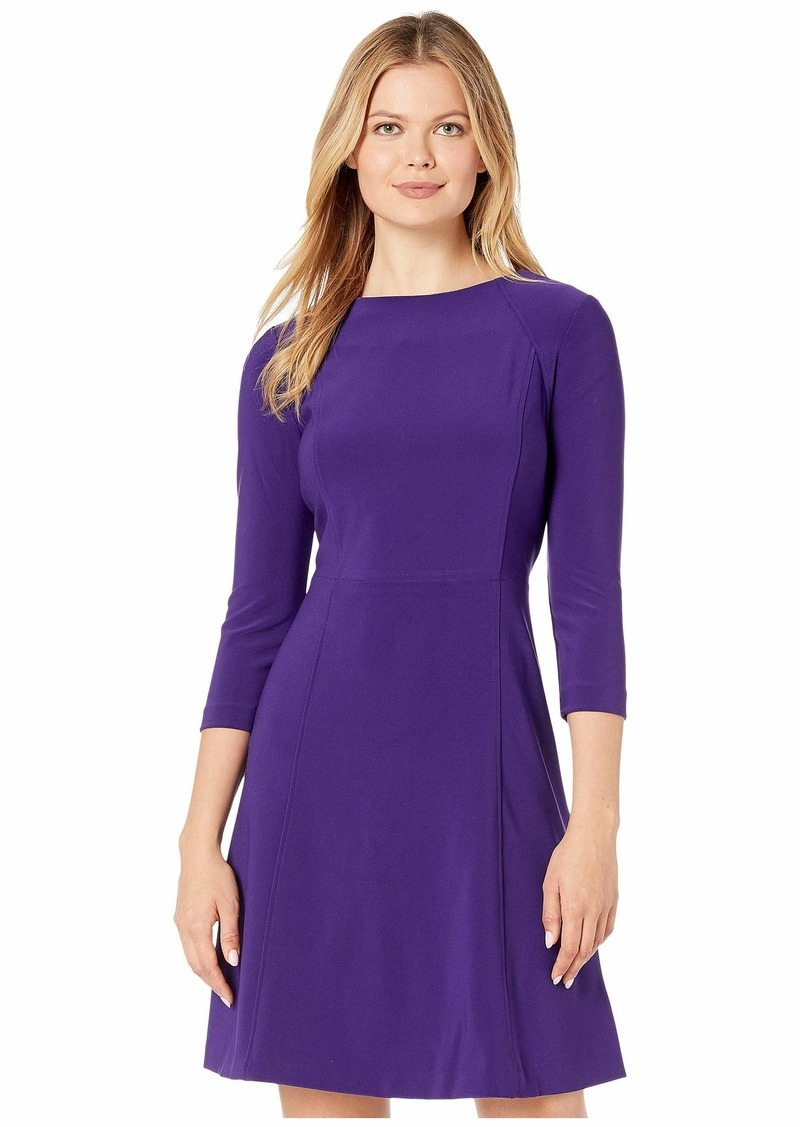Ralph Lauren Bonded Matte Jersey Greer 3/4 Sleeve Day Dress